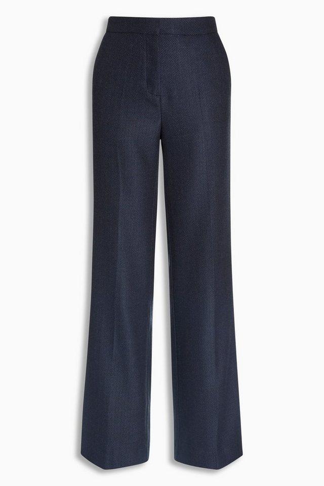 Next Hose mit Fischgrätmuster und weitem Bein in Blau