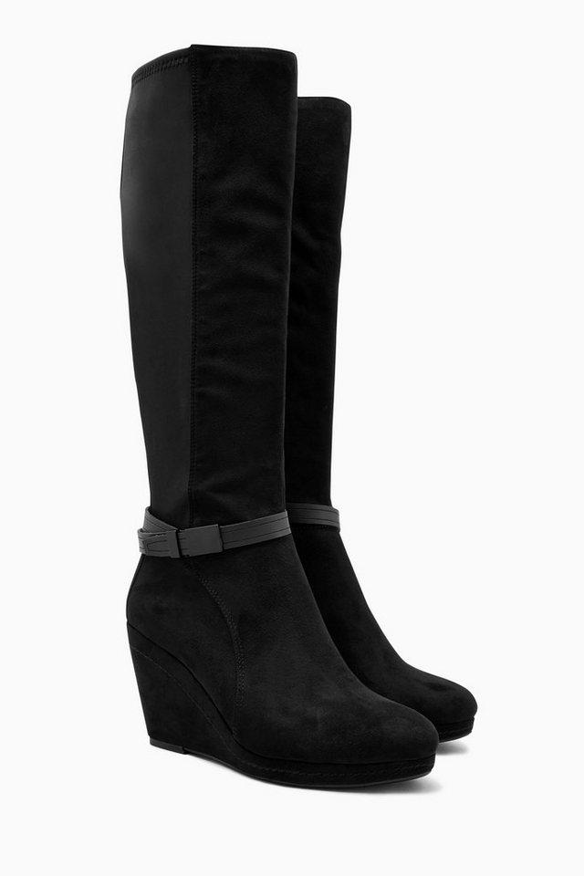 Next Hohe Stiefel mit Keilabsatz und Riemendetail in Schwarz