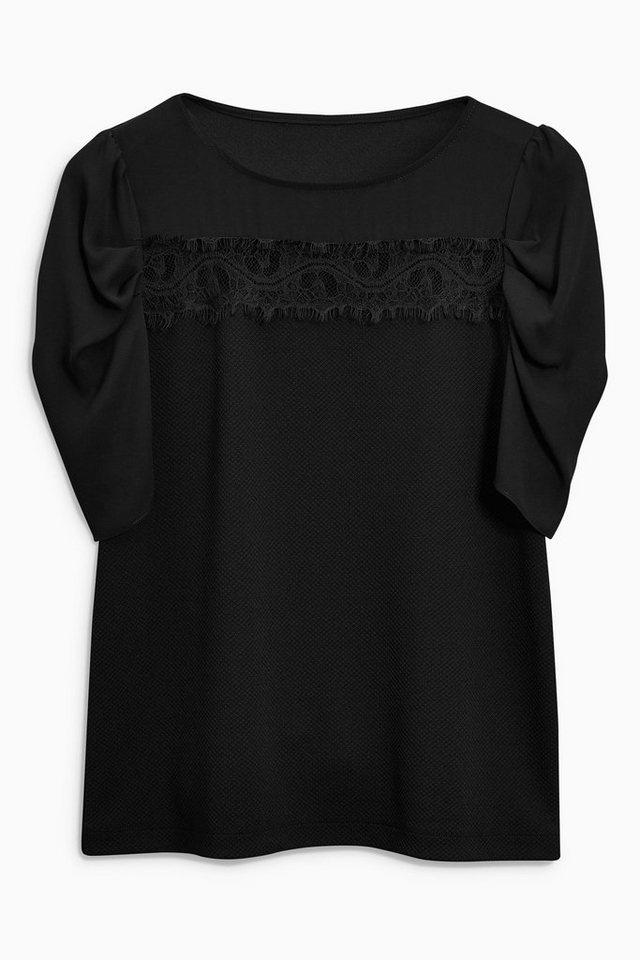Next T-Shirt mit Puffärmeln und Spitzeneinsatz in Schwarz