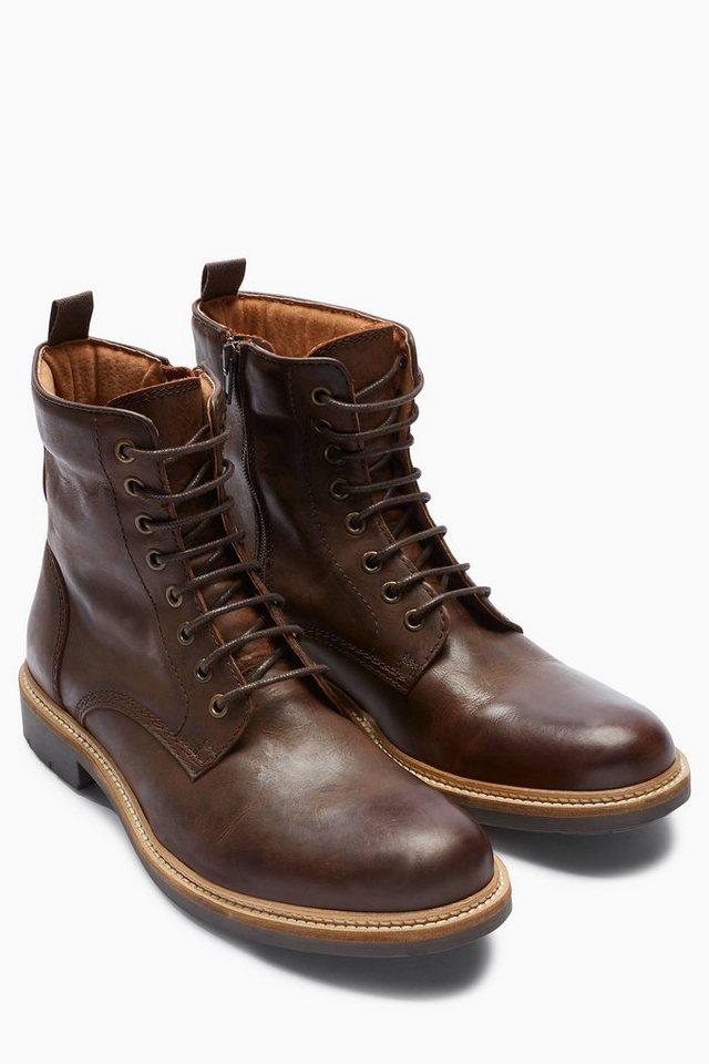 Next Stiefel aus Leder mit gepolstertem Schaft und Reißverschluss in Braun
