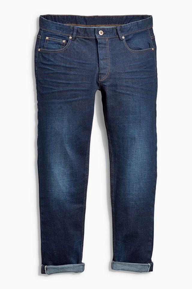 Next Slim-Fit Dark Wash Selvedge Stretch-Jeans in Blau Slim-Fit