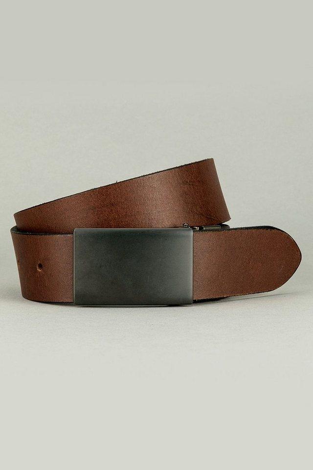 Next Wendegürtel aus Leder mit stahlgrauer Plattenschnalle in Braun