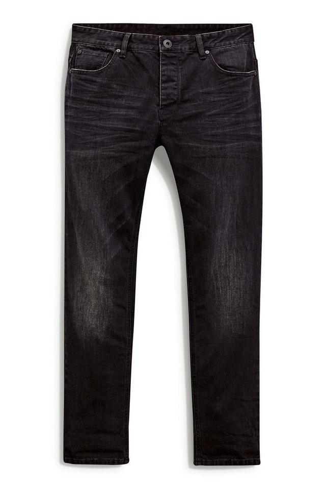 Next Tapered-Fit Washed Black Stretch-Jeans in Schwarz Tapered-Fit