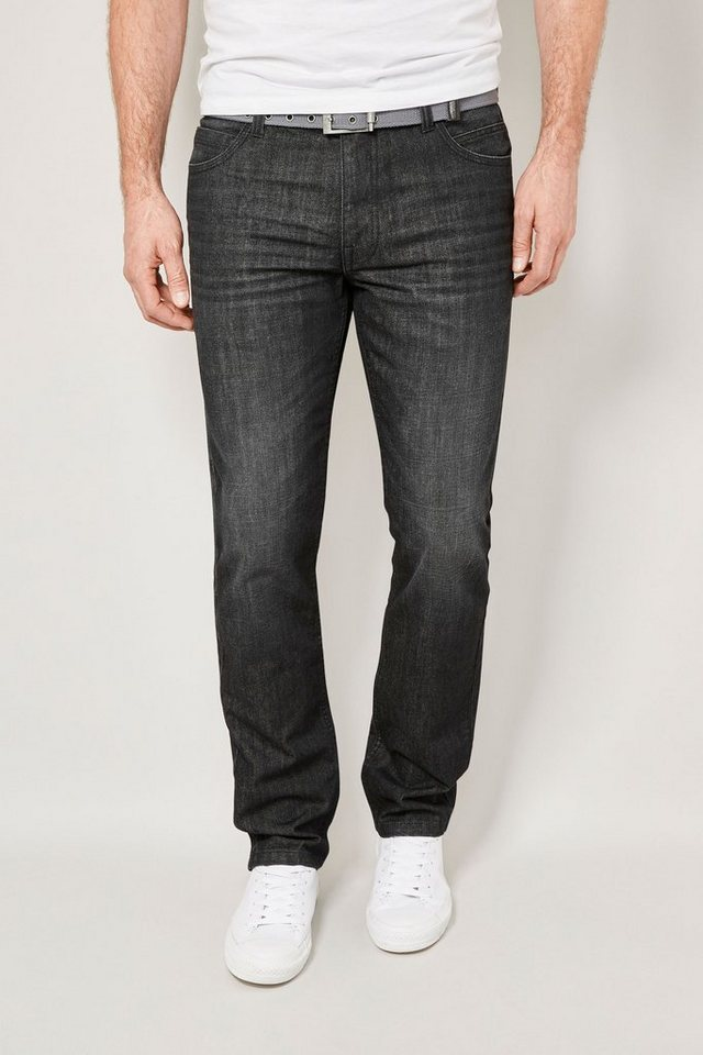 Next Slim-Fit Washed Black Jeans mit Gürtel 2 teilig in Schwarz Slim-Fit