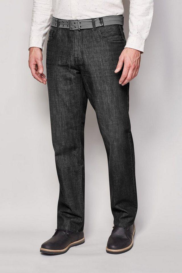 Next Straight-Fit Washed Black Jeans mit Gürtel 2 teilig in Schwarz Straight-Fit