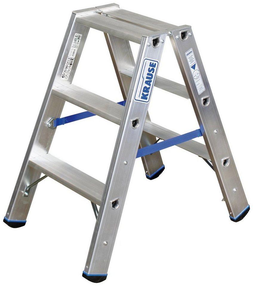 Stabilo Professional Doppelleiter »STABILO«, mit bis zu 2x10 Stufen in silberfarben