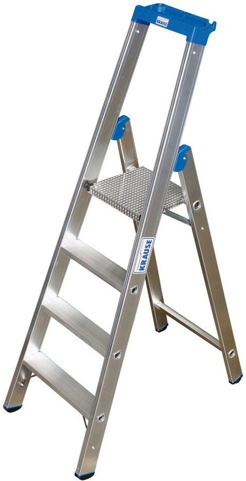 Sicherheitstrittleiter »STABILO«, mit bis zu 12 Stufen in silberfarben