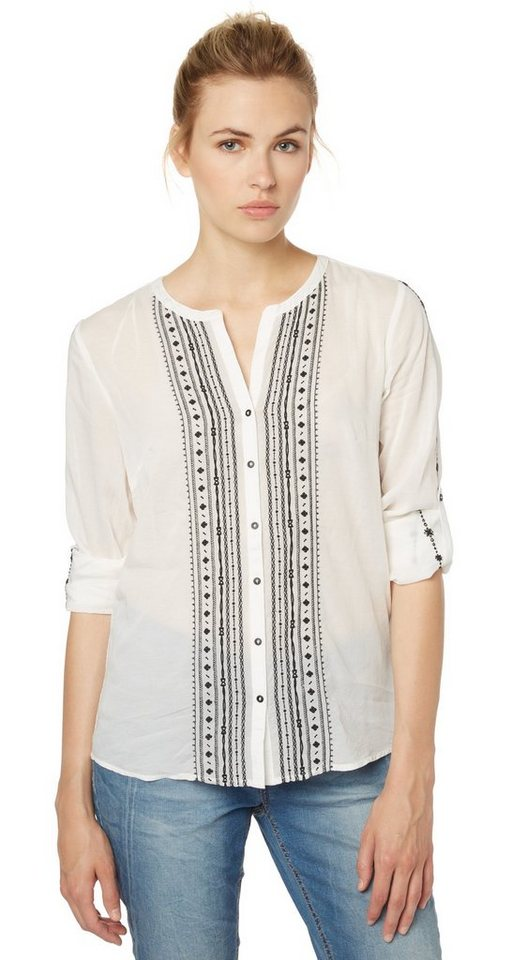 TOM TAILOR Bluse »Tunika-Bluse mit Stickerei« in whisper white