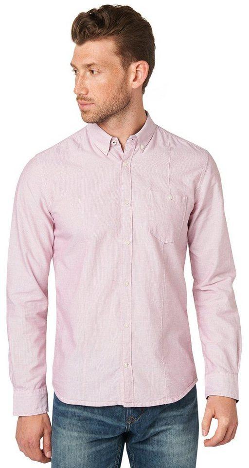 TOM TAILOR Hemd »Hemd mit feiner Struktur« in grunge red