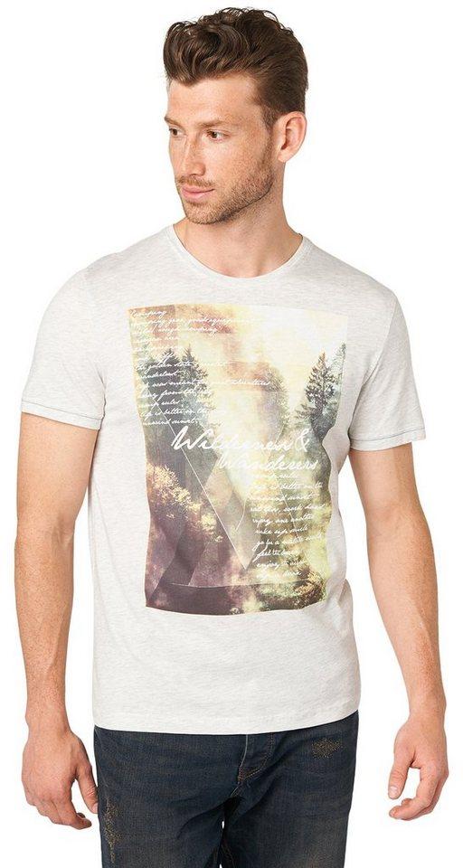 TOM TAILOR T-Shirt »Melange-Shirt mit Print« in gray beige melange