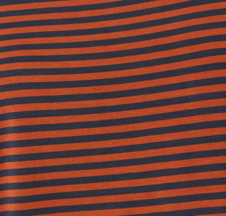 TOM TAILOR DENIM T-Shirt »Langarm-Shirt mit Streifen« in burn umber orange