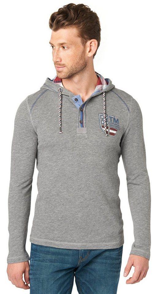 TOM TAILOR T-Shirt »longsleeve henley with hood« in rock mass grey melan