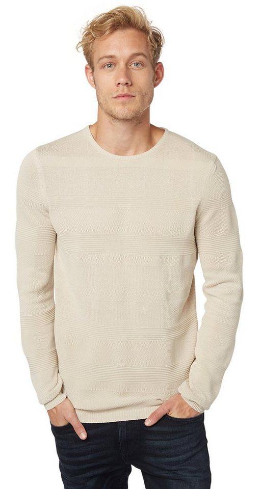 TOM TAILOR DENIM Pullover »lässiger Pullover mit Struktur« in soft beige solid