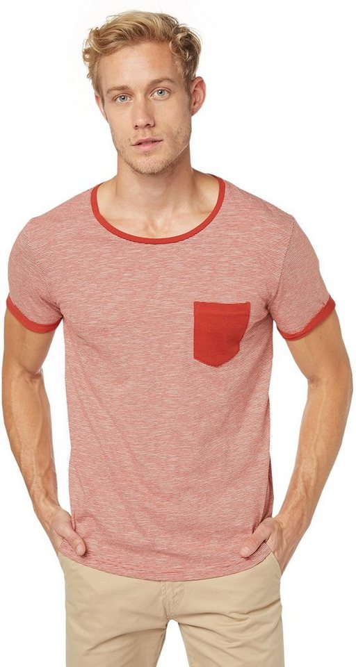 TOM TAILOR DENIM T-Shirt »T-Shirt mit feinen Streifen« in burned red slate