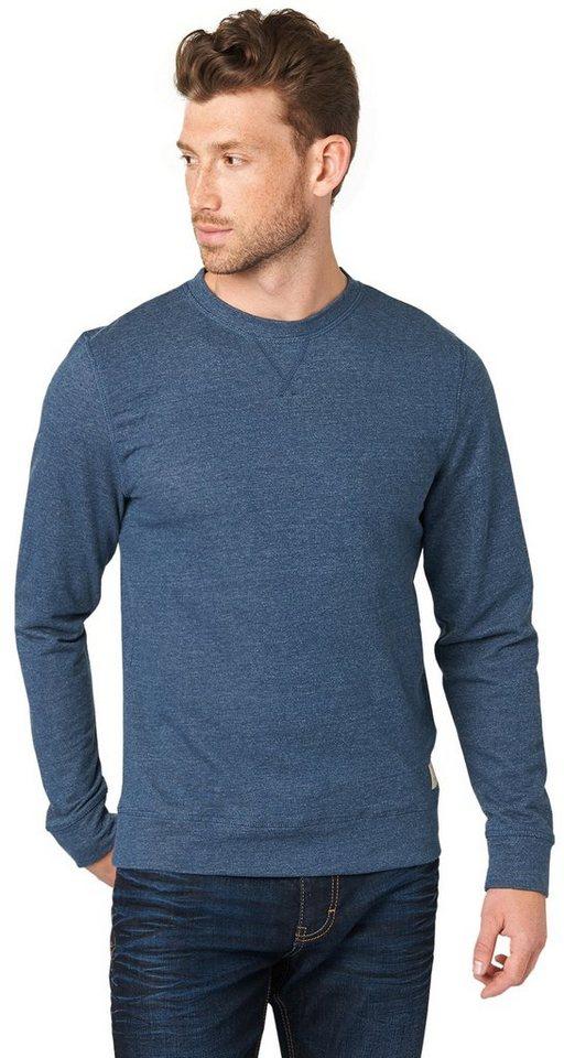 TOM TAILOR Sweatshirt »Sweater in Melange-Optik« in dark denim blue