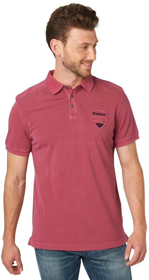 TOM TAILOR Poloshirt »Polo-Shirt im Used-Look mit Details« in tile red