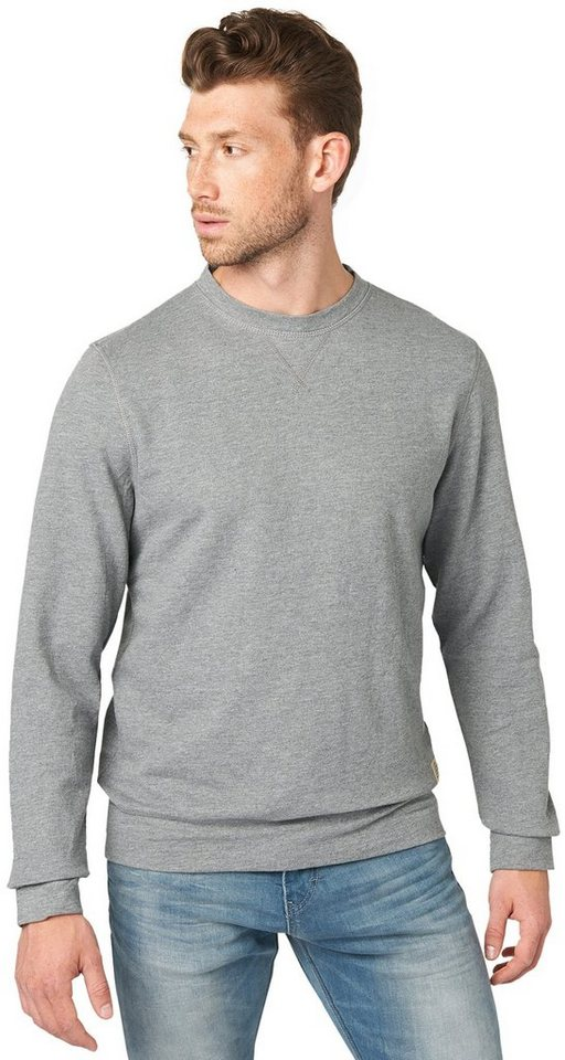 TOM TAILOR Sweatshirt »Sweater in Melange-Optik« in rock mass grey melan