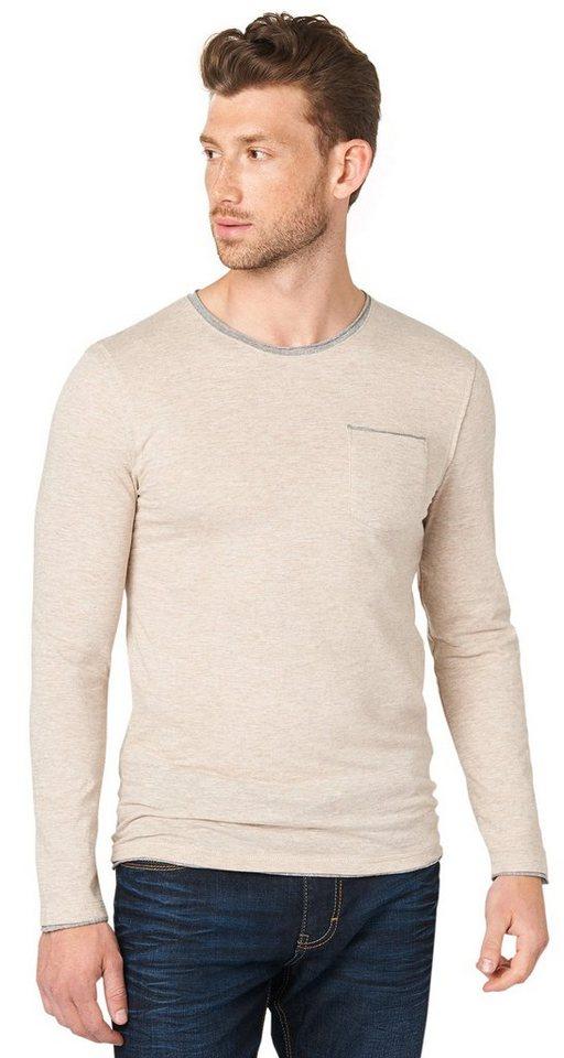 TOM TAILOR T-Shirt »Langarm-Shirt im Lagen-Look« in pastel grey