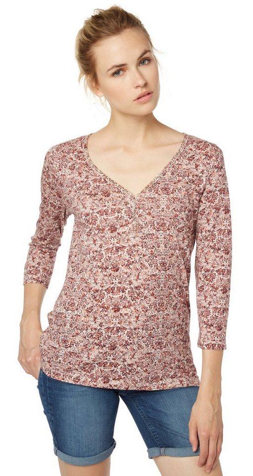 TOM TAILOR T-Shirt »Henley-Shirt im Bohemian-Stil« in velvet red