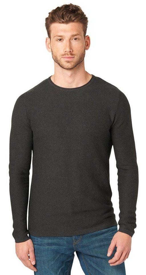 TOM TAILOR Pullover »strukturierter Pullover« in black grey melange