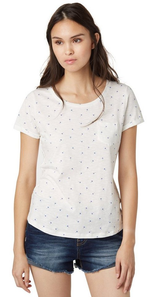 TOM TAILOR DENIM T-Shirt »modern loose print shirt« in off white