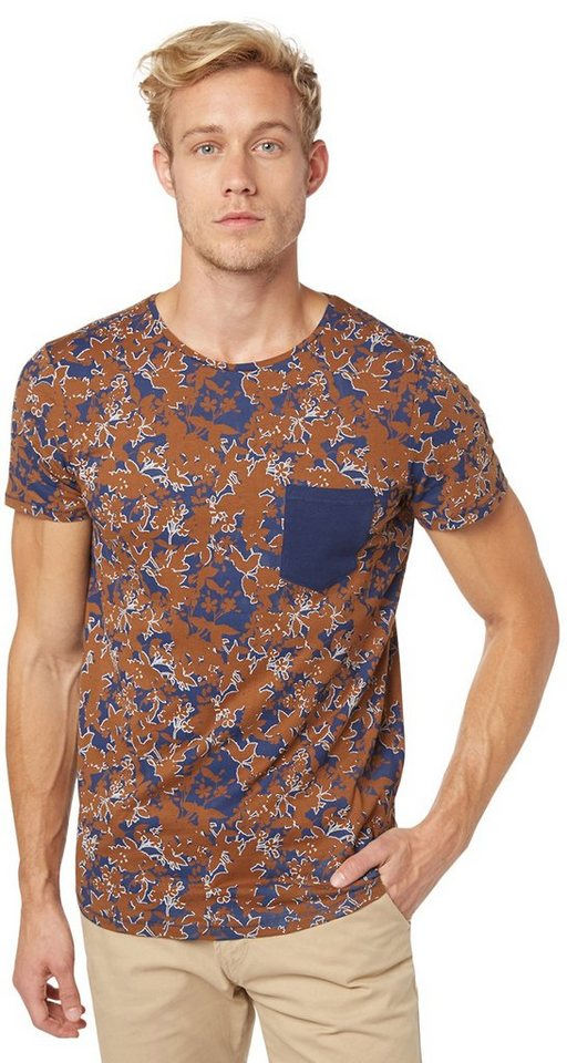 TOM TAILOR DENIM T-Shirt »all over printed flower-tee« in cosmos blue