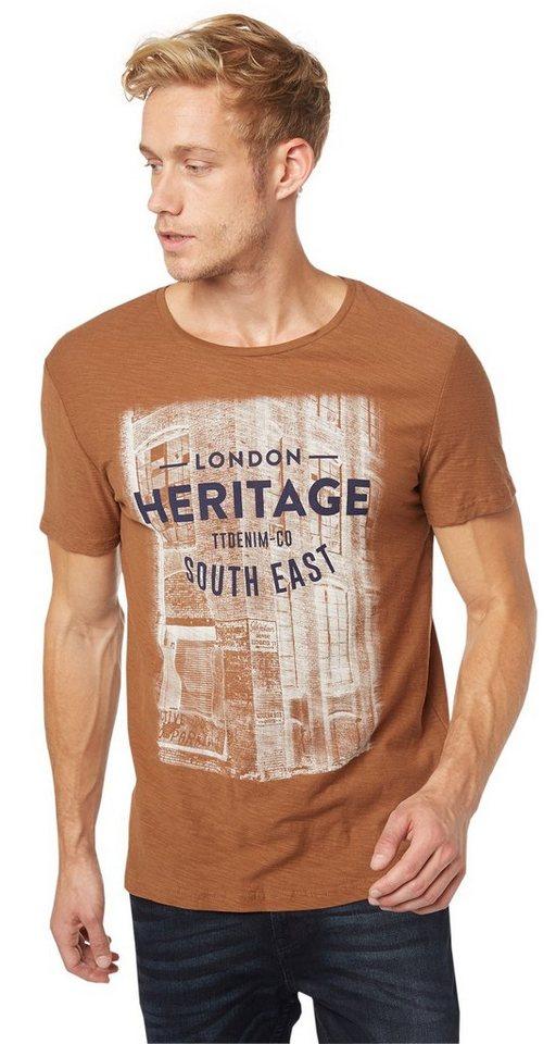 TOM TAILOR DENIM T-Shirt »Print-Shirt im Vintage-Look« in rich cinnamon