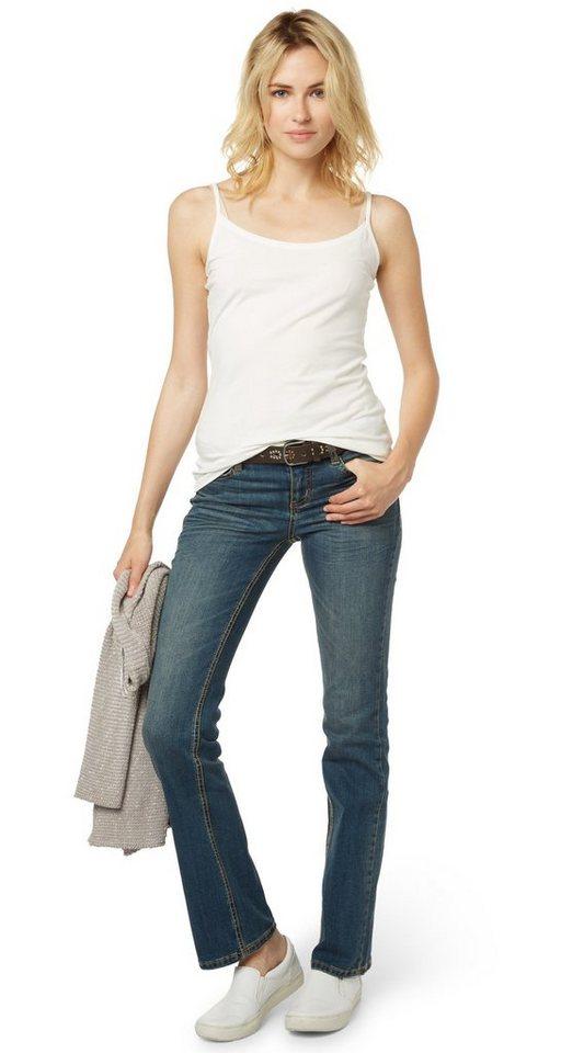 TOM TAILOR Jeans »klassische Bootcut-Jeans mit Gürtel« in mid stone wash denim