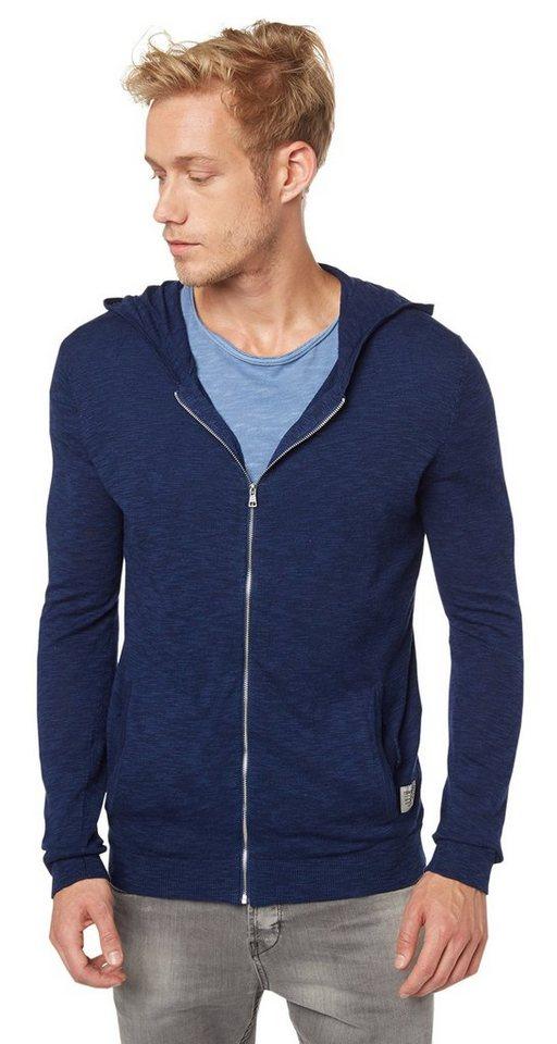 TOM TAILOR DENIM Pullover »slubby hoody cardigan« in cosmos blue