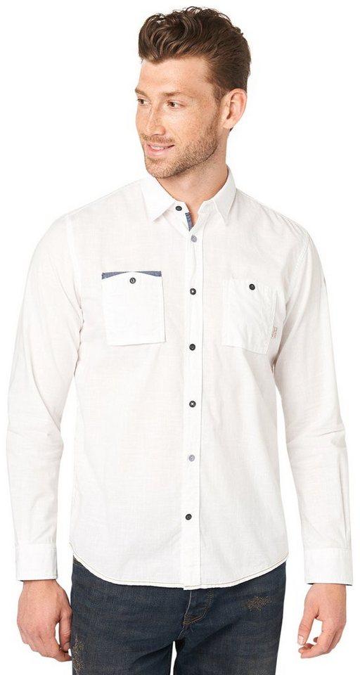 TOM TAILOR Hemd »Hemd mit Chambray-Details« in off white