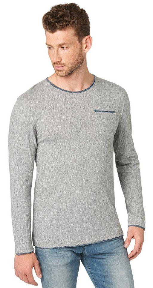 TOM TAILOR T-Shirt »Langarm-Shirt im Lagen-Look« in rock mass grey melan