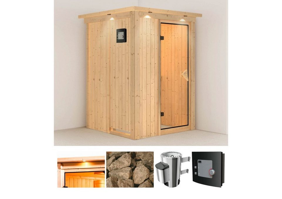 Systemsauna »Lenja«, 135/135/198 cm, 3,6-KW Plug & Play mit ext. Strg. in natur