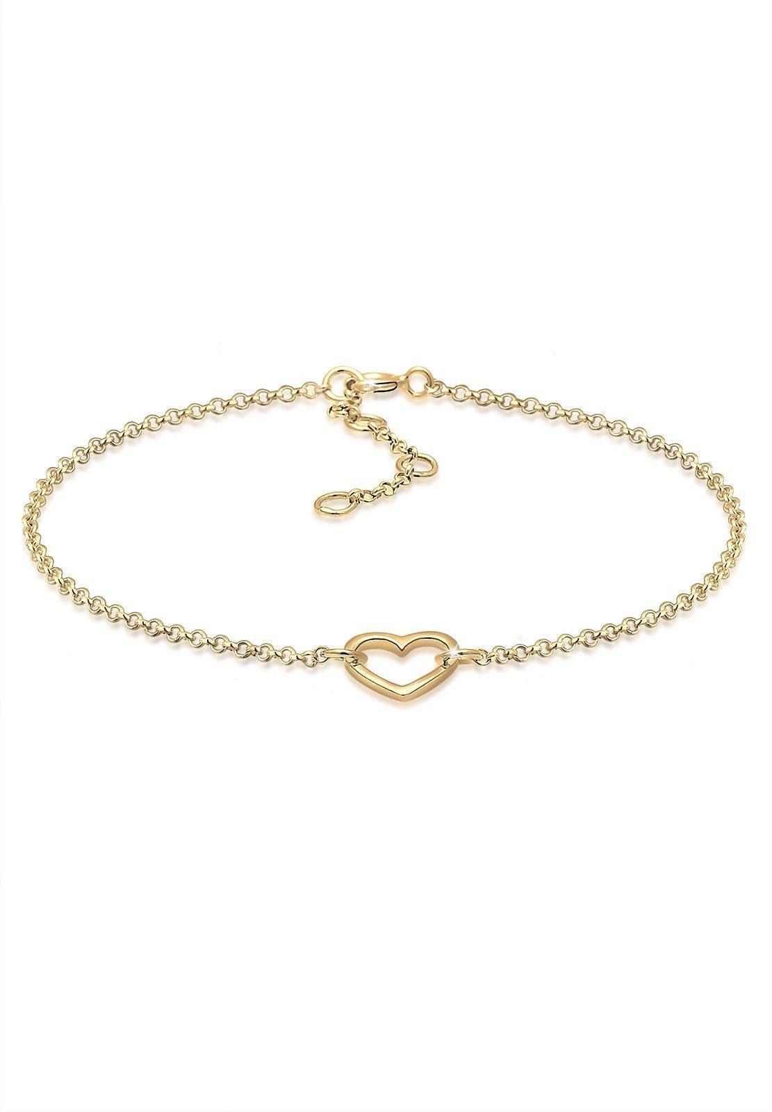 Elli Armband »Herz Liebe Love 925 Silber vergoldet Janine«