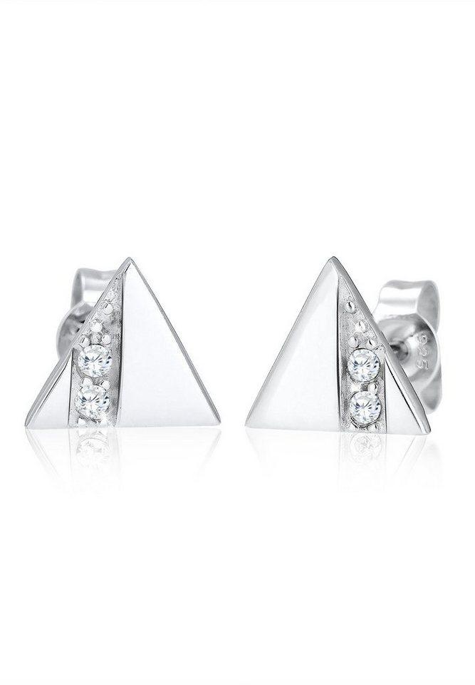 Elli Ohrringe »Dreieck Zirkonia Silber« in Weiß