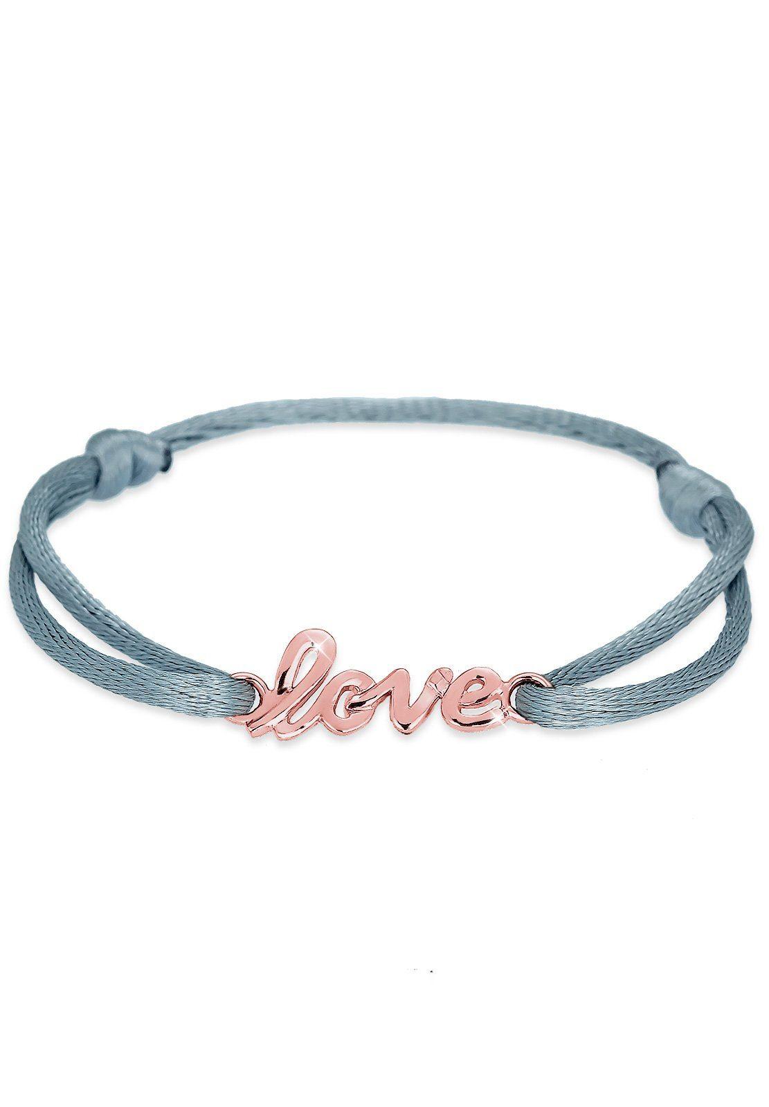 Elli Armband »Love-Schriftzug Satin ROSÉGOLD«