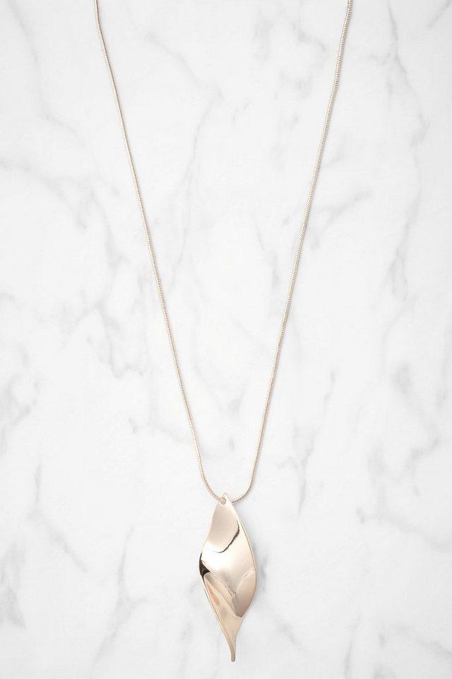 Next Lange Halskette mit Anhänger in Twist-Optik in Roségoldfraben