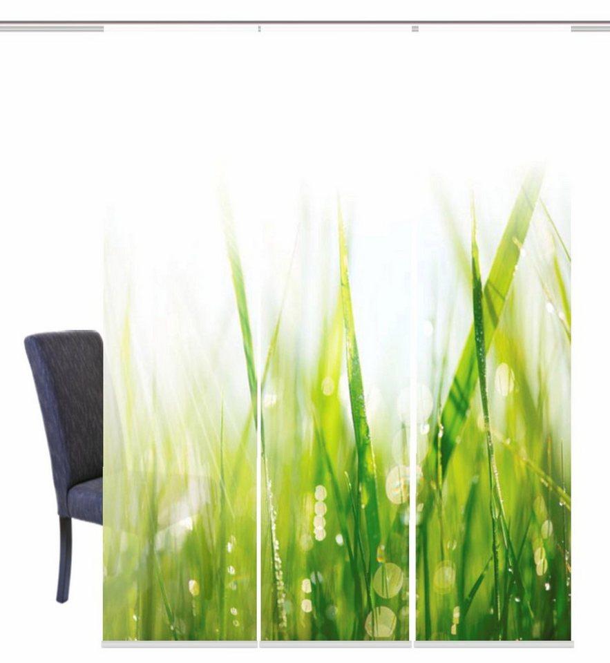 Schiebegardine, Home Wohnideen, »PLYMOUTH«, mit Klettband (3 Stück mit Zubehör) in grün