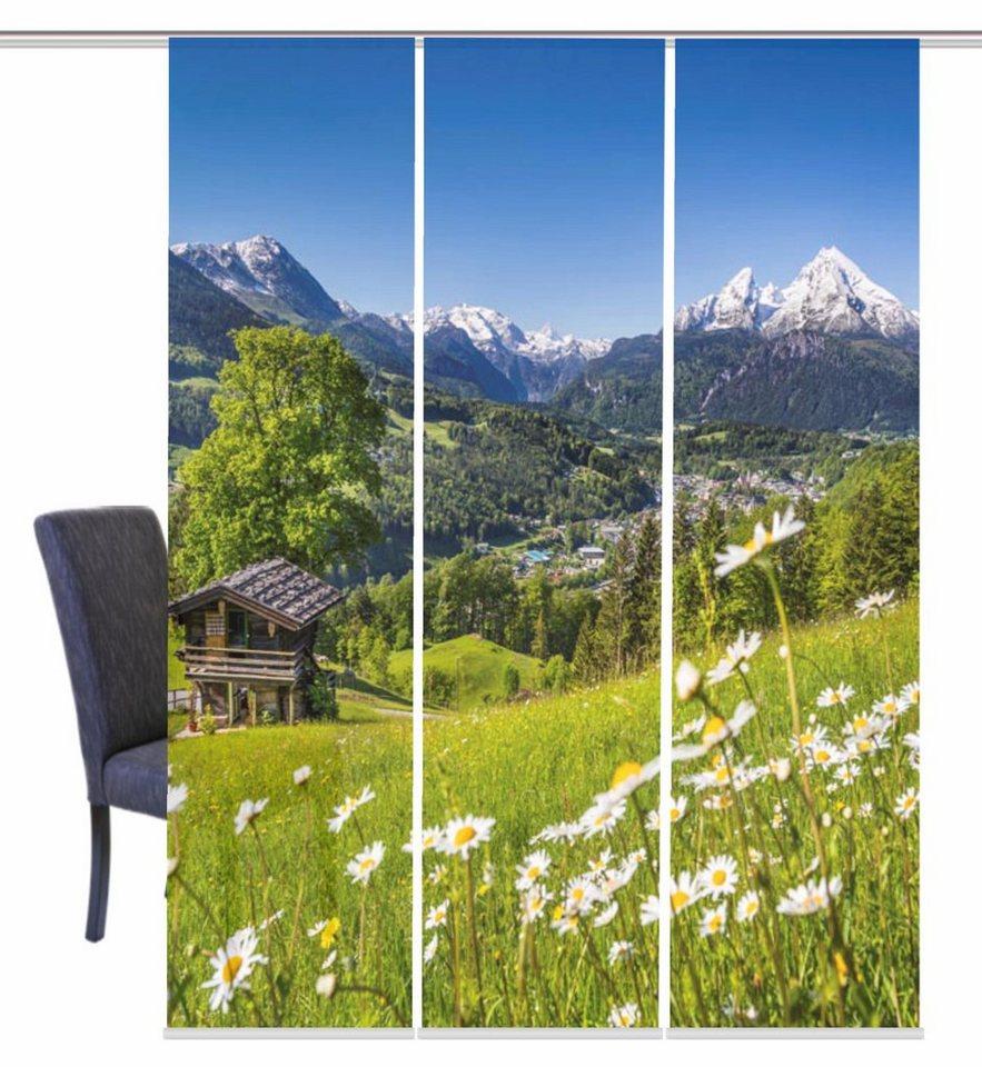 schiebegardine home wohnideen landschaft 3 st ck mit zubeh r online kaufen otto. Black Bedroom Furniture Sets. Home Design Ideas