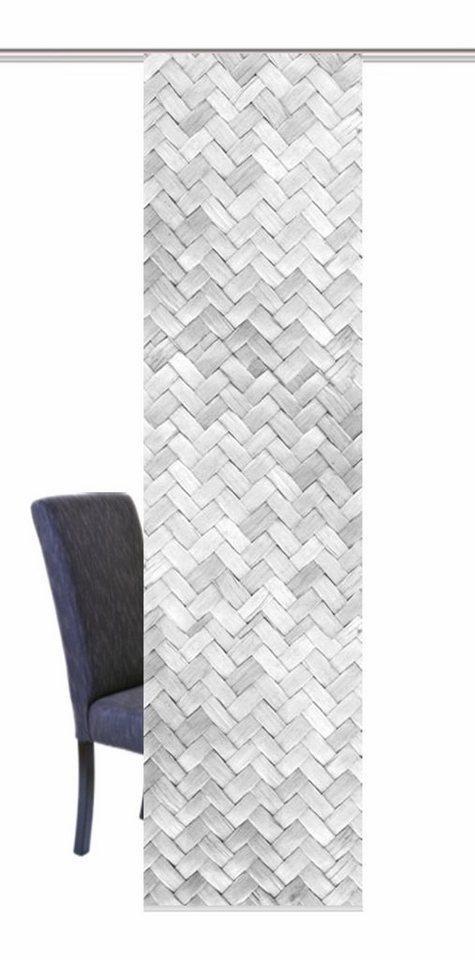Schiebegardine, Home Wohnideen, »FLECHTOPTIK«, mit Klettband in grau