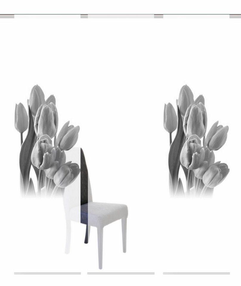 Schiebevorhang, Home Wohnideen, »TULPAS«, mit Klettband, Mehrfachsets (mit Zubehör) in schwarz-weiß