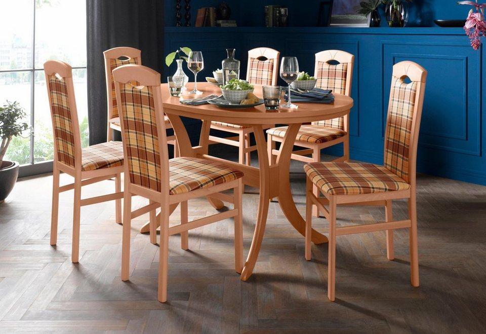 Stühle (2 Stück) in buche/gelb-braun