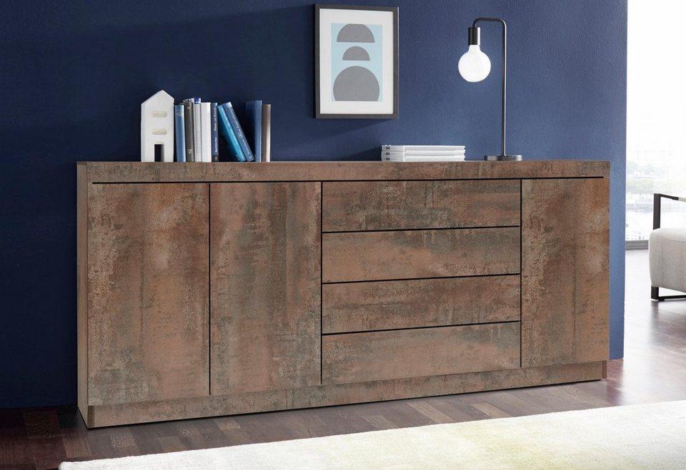 Sideboard, Breite 190 cm in stahlfarben braun