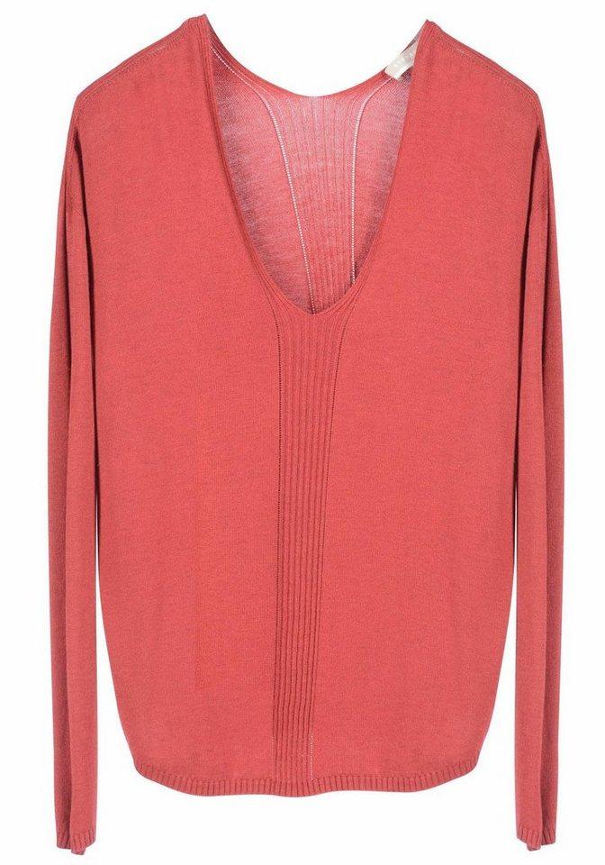 STEFANEL Strickpullover mit Strickdetails vorne und im Rücken in rot