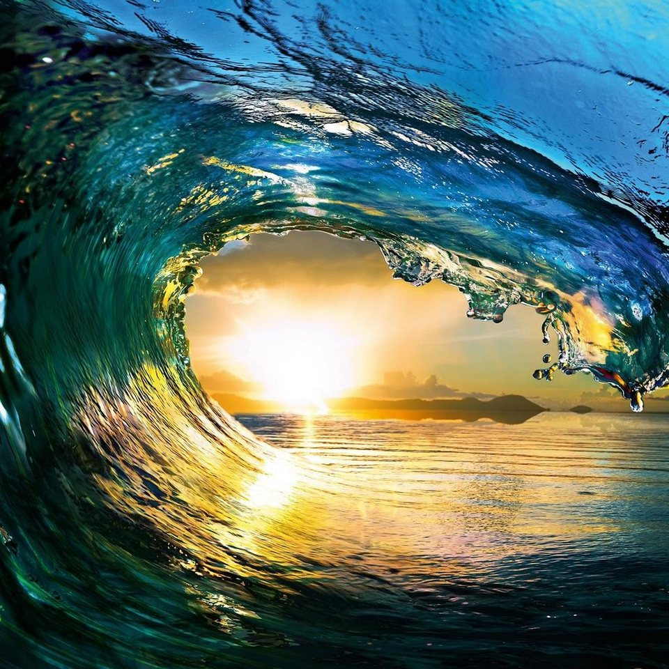 Eurographics Glasbild »First Summer Wave«, 50/50cm in blau/orange