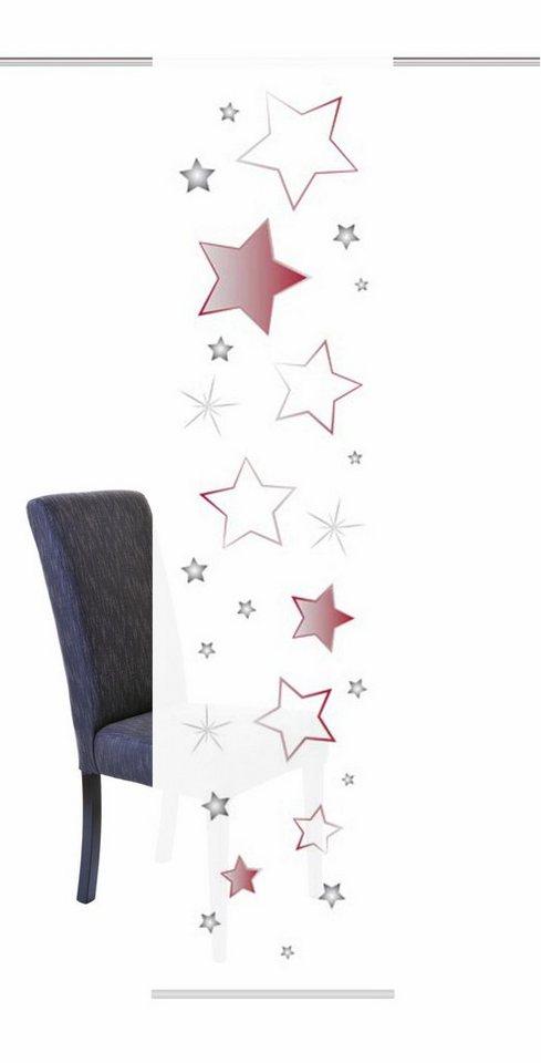 Schiebegardine, Home Wohnideen, »STARS«, mit Klettband (1 Stück mit Zubehör) in rot