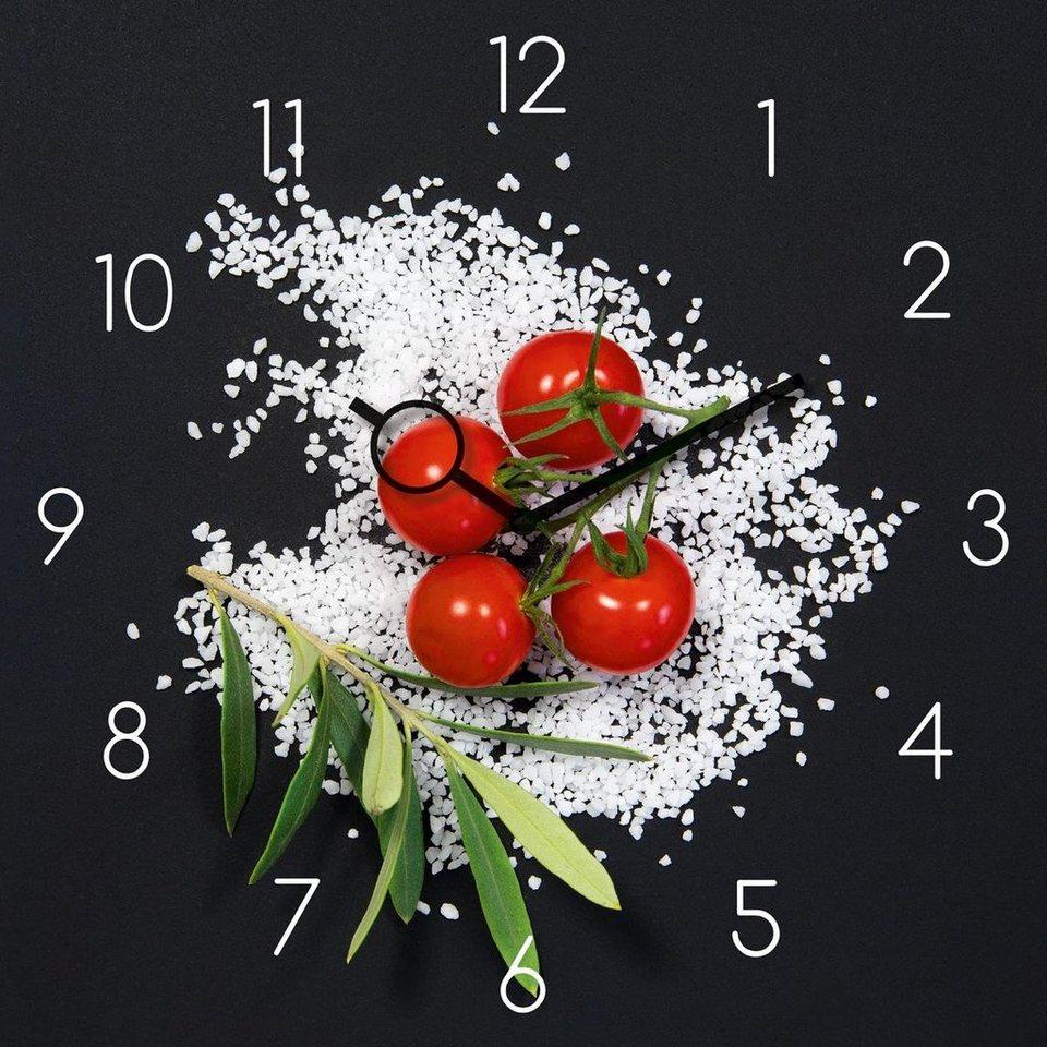 Eurographics Glasuhr »Cucina Italiana Pomodori«, 30/30cm in schwarz/bunt