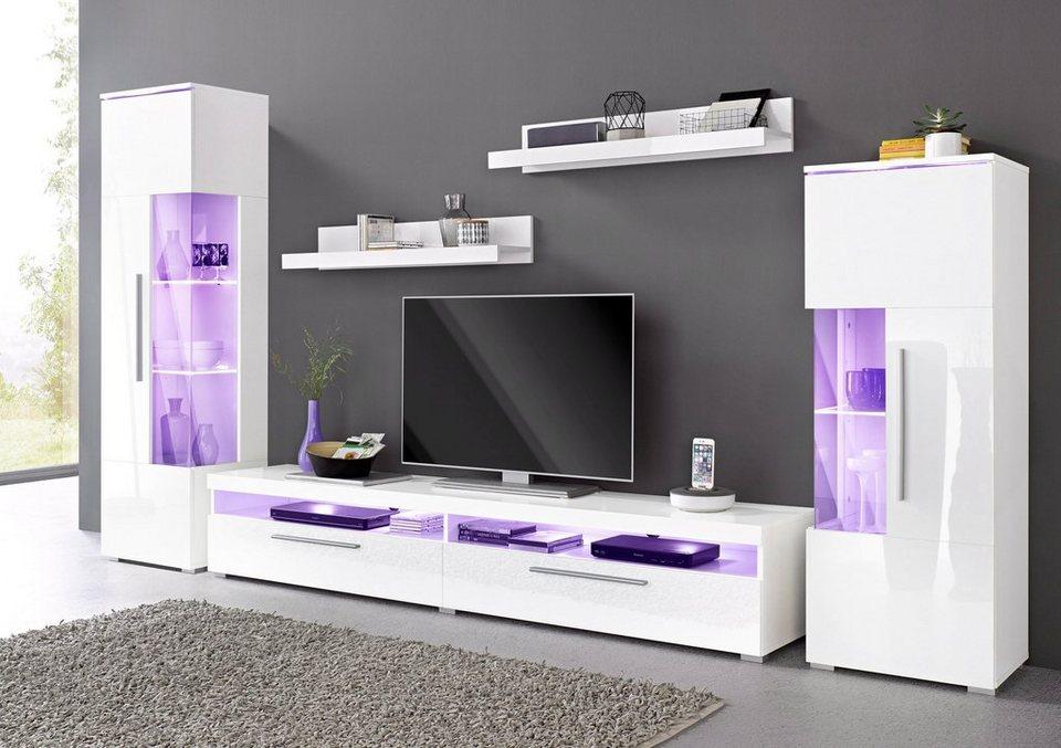 Wohnwand weiß hochglanz otto  Wohnwand (5-tlg.) online kaufen | OTTO