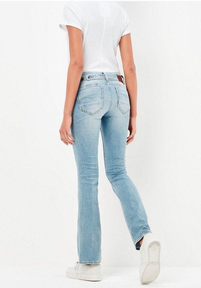 G-Star Bootcut-Jeans »Midge Saddle Mid Waist Bootleg« mit Riegel im Rücken in light-blue