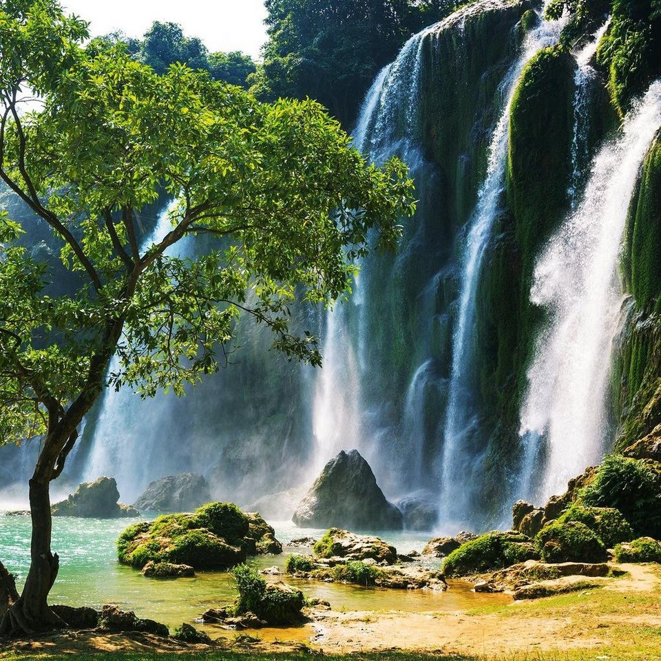Eurographics Glasbild »Waterfall In Vietnam«, 50/50cm in bunt