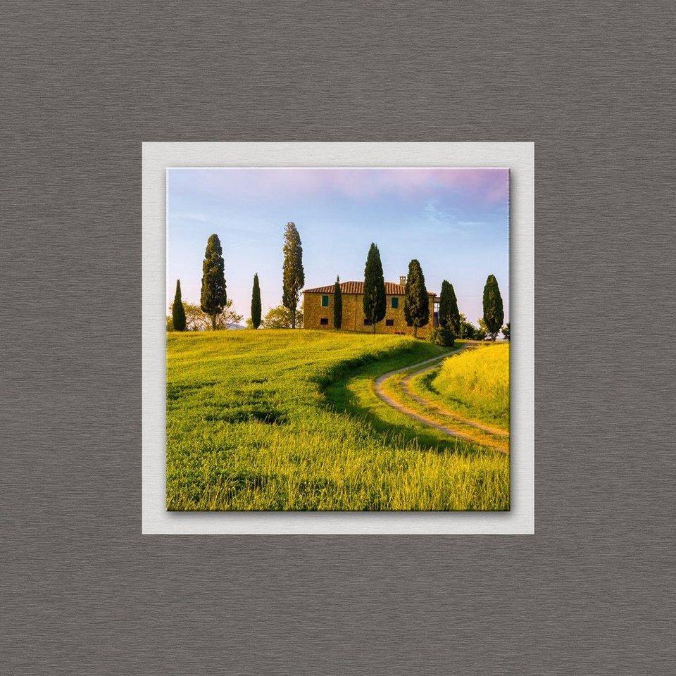 Eurographics Glasbild mit Aluminium »Tuscan Farmhouse«, 50/50cm in grün/silber
